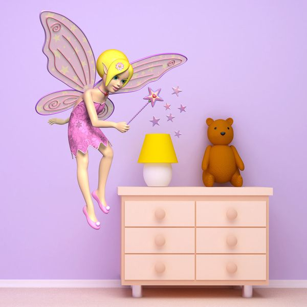 Stickers for Kids: Pink fairy with wand