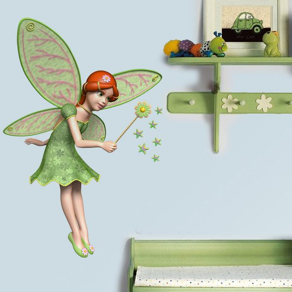 Stickers for Kids: Green fairy with wand