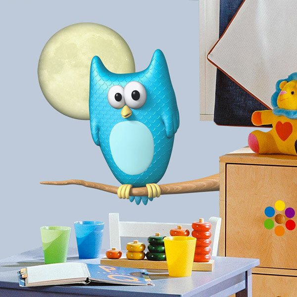 Stickers for Kids: Owl in the light of the moon