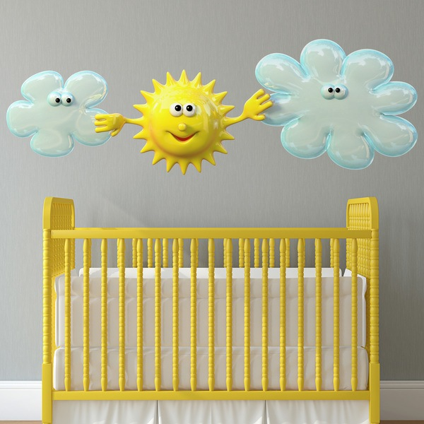 Stickers for Kids: Sun among the clouds