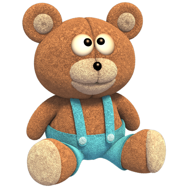 Stickers for Kids: Teddy bear with denim overalls