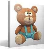 Stickers for Kids: Teddy bear with denim overalls 3