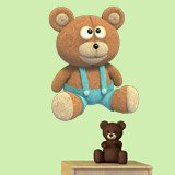 Stickers for Kids: Teddy bear with denim overalls 4
