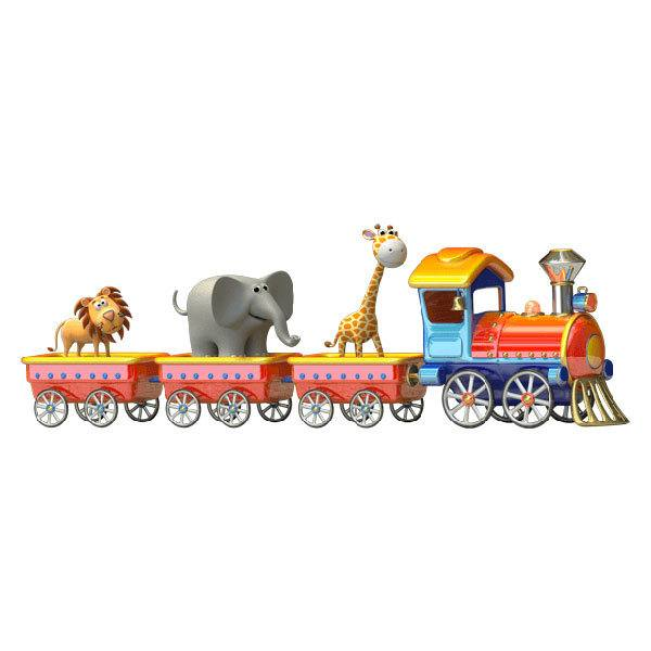 Stickers for Kids: The train of the animals