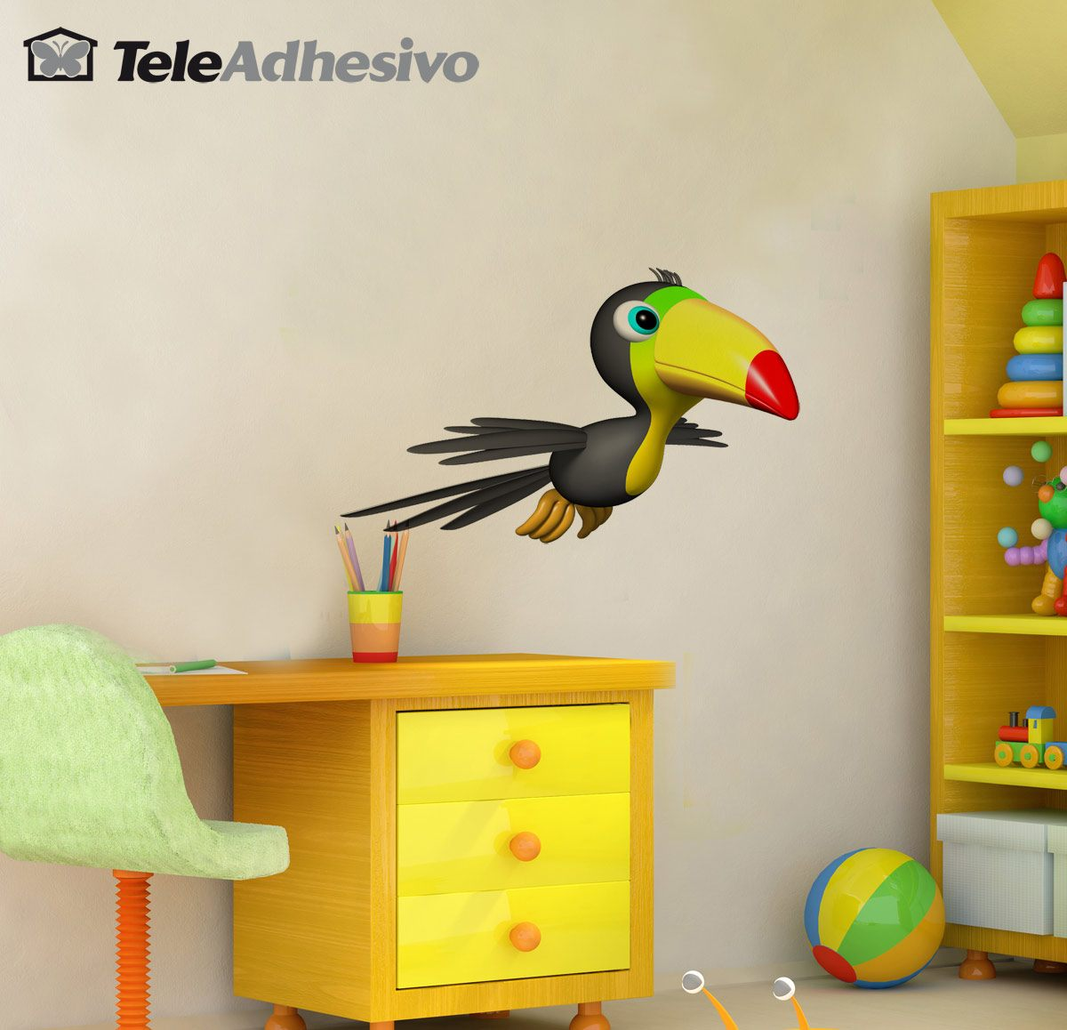 Stickers for Kids: Toucan flying