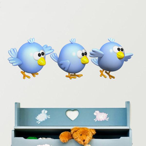 Stickers for Kids: Three blue birds