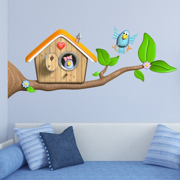 Stickers for Kids: Birdhouse on the branch