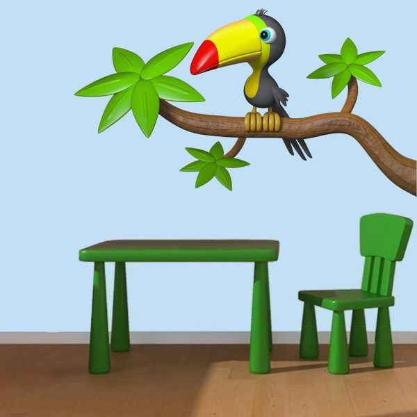 Stickers for Kids: Tucan in the branch