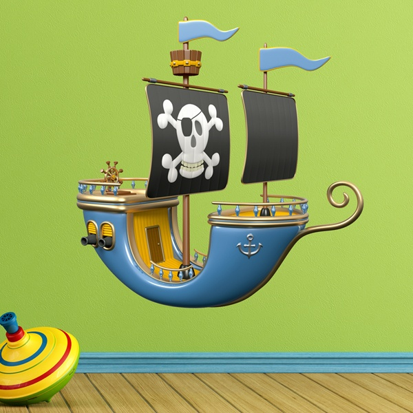 Stickers for Kids: Blue Pirate Ship