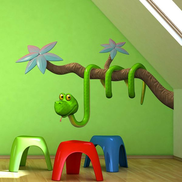 Stickers for Kids: Snake hanging on the branch