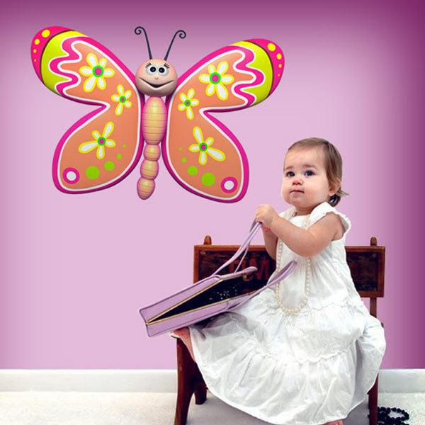 Stickers for Kids: Butterfly with flowers