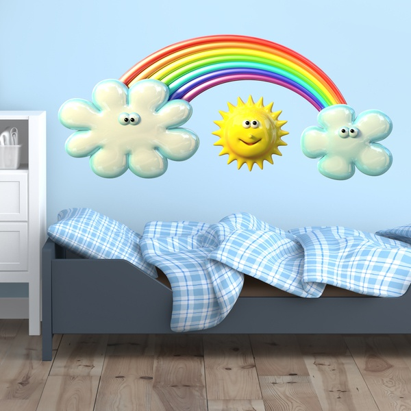 Stickers for Kids: Sun between the clouds and the rainbow