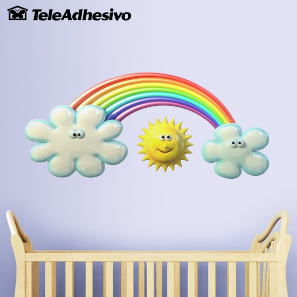 Stickers for Kids: Sun between clouds and rainbows