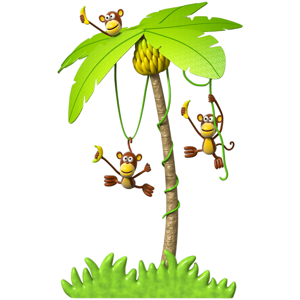 Stickers for Kids: Three monkeys in a palm tree 0