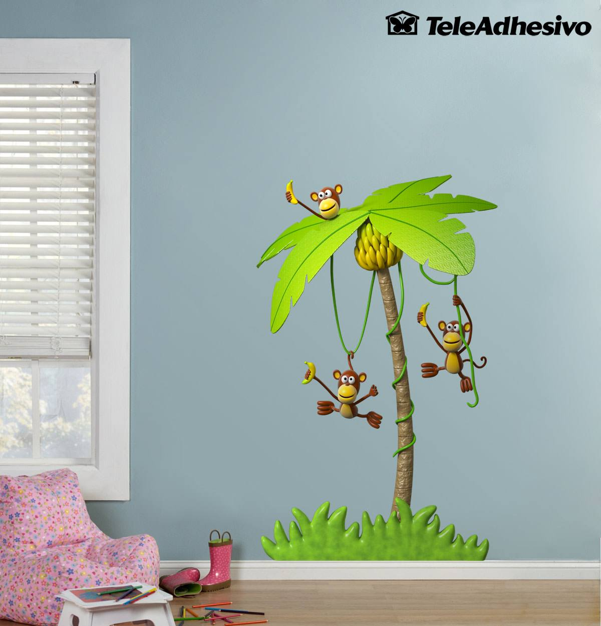 Stickers for Kids: Three monkeys in a palm tree