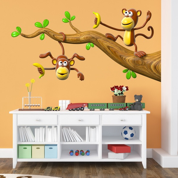 Stickers for Kids: Two monkeys playing on a branch