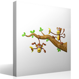 Stickers for Kids: Two monkeys playing on a branch 4