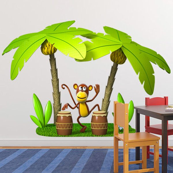 Stickers for Kids: Monkey playing the congas