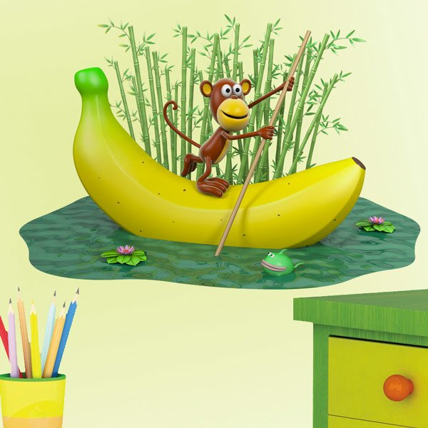 Stickers for Kids: Monkey sailing on a banana