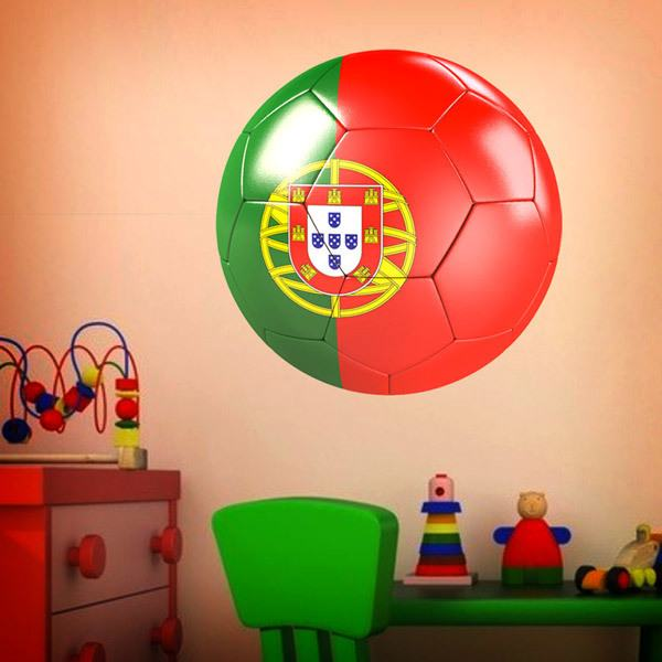 Stickers for Kids: Soccer Ball flag of Portugal