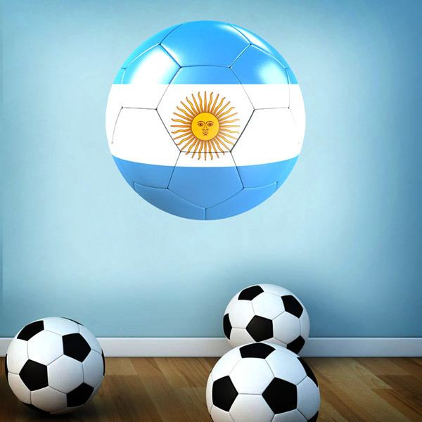 Stickers for Kids: Soccer ball flag of Argentina
