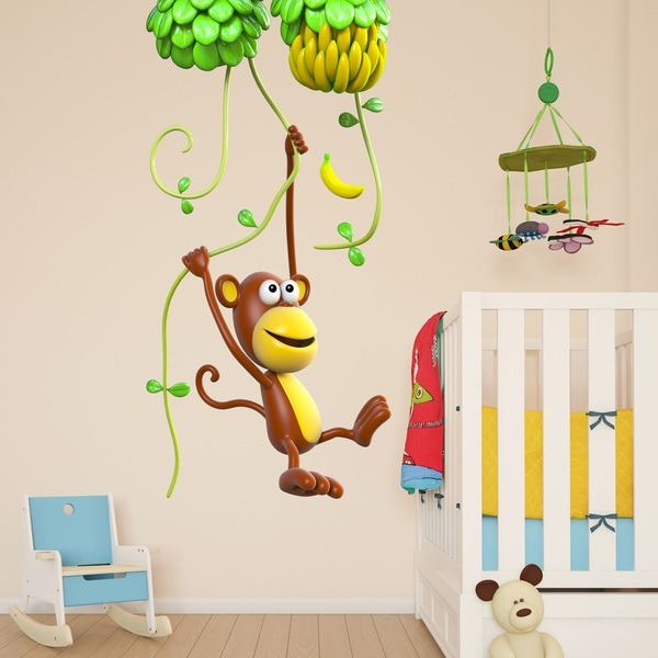Stickers for Kids: Monkey on liana 2
