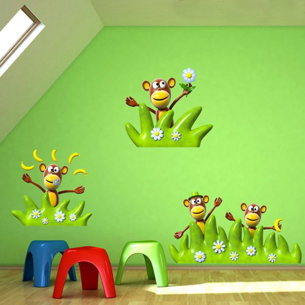 Stickers for Kids: Four monkeys playing