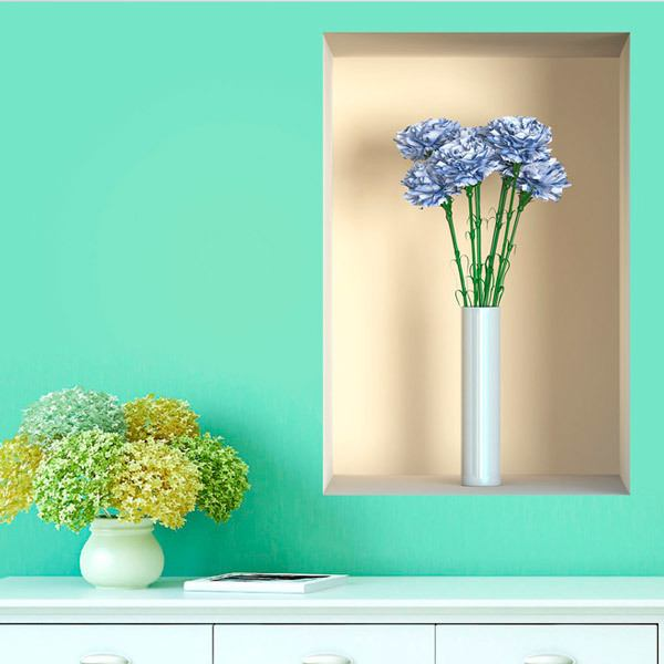 Wall Stickers: Vase with flowers niche