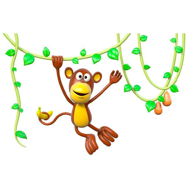 Stickers for Kids: Monkey jumping in the lianas