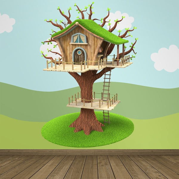 Stickers for Kids: Wooden house in the tree