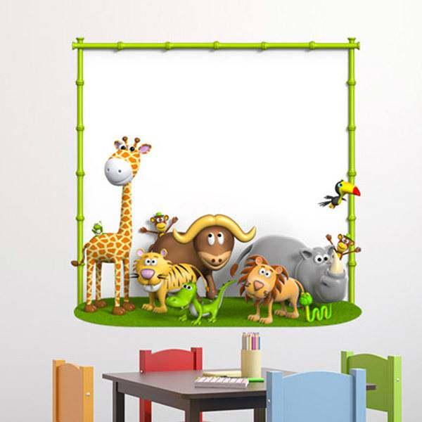 Stickers for Kids: Animals with bamboo frame