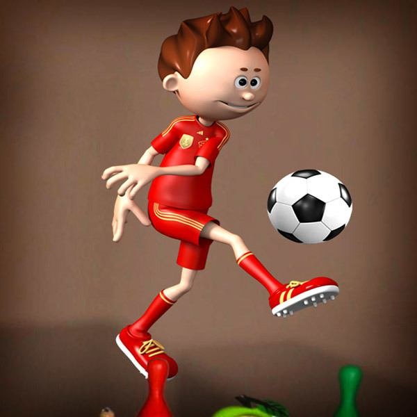 Stickers for Kids: Soccer player making a pass
