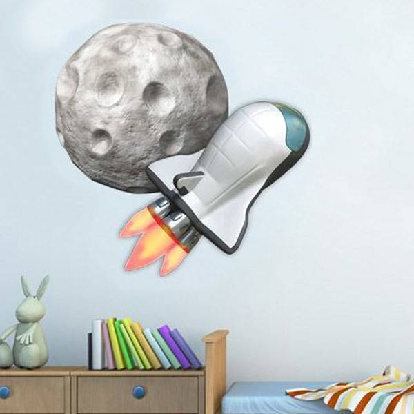 Stickers for Kids: Space shuttle on the moon