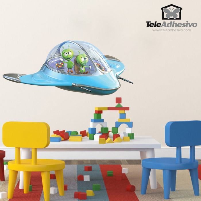 Stickers For Kids Spacecraft With Aliens