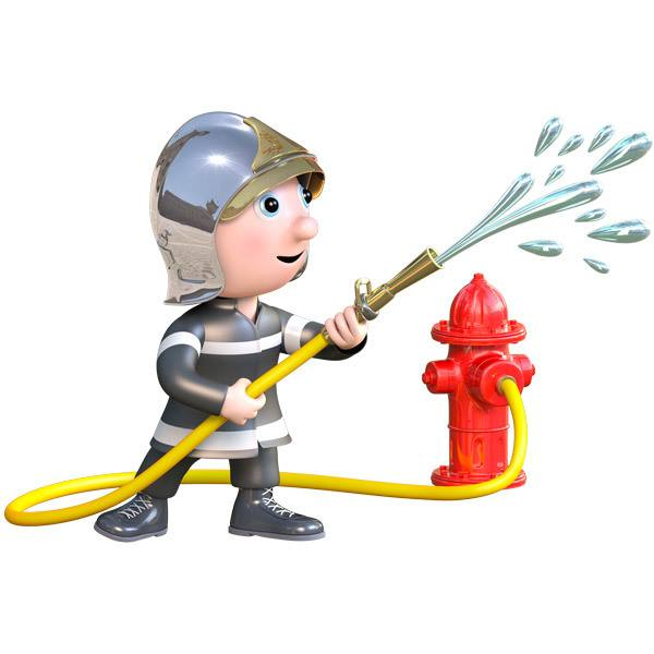 Stickers for Kids: Fireman and hose