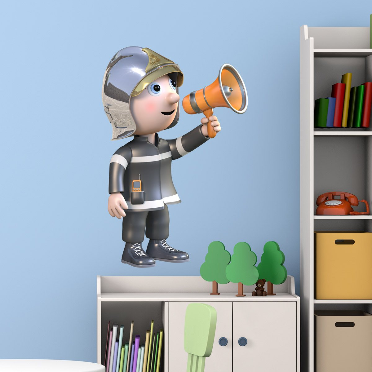 Stickers for Kids: Firefighter and megaphone