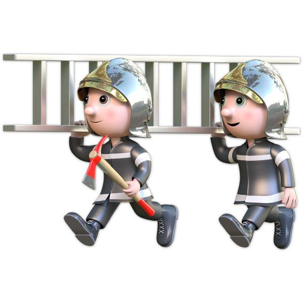 Stickers for Kids: Firefighters with ladder