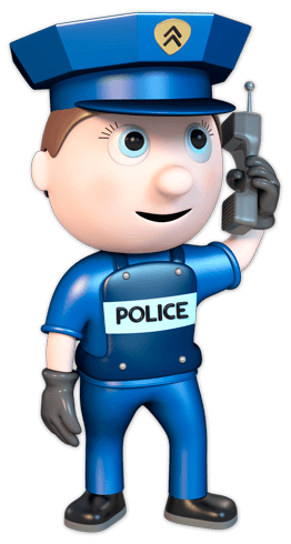 Stickers for Kids: Policeman with Walkie Talkie