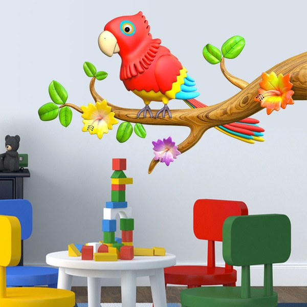 Stickers for Kids: Parrot of colors on the branch