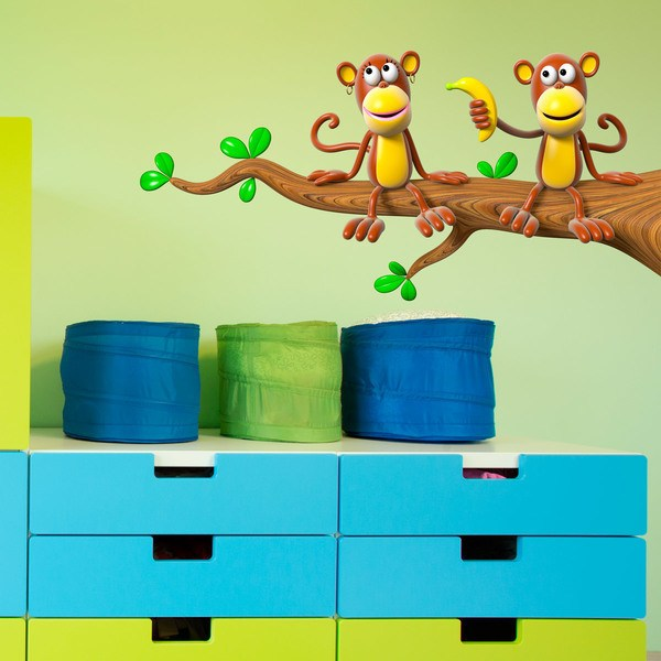 Stickers for Kids: Couple of monkeys on the branch