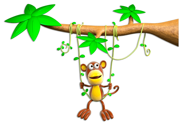 Stickers for Kids: Monkey swinging on branch
