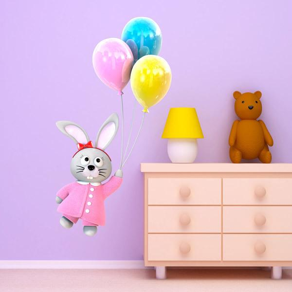 Stickers for Kids: Lapin volant avec des ballons