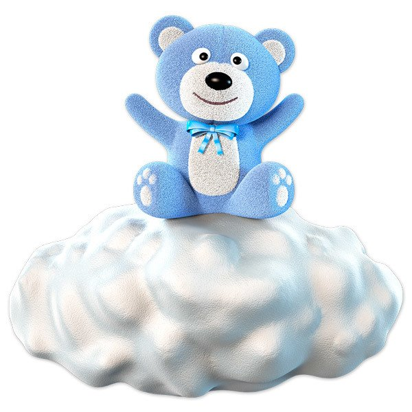 Stickers for Kids: Teddy blue color on the cloud