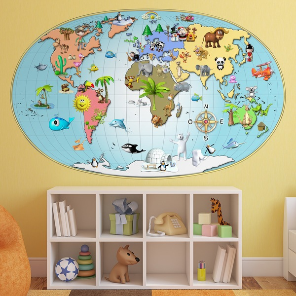 Stickers for Kids: 3D animated world map
