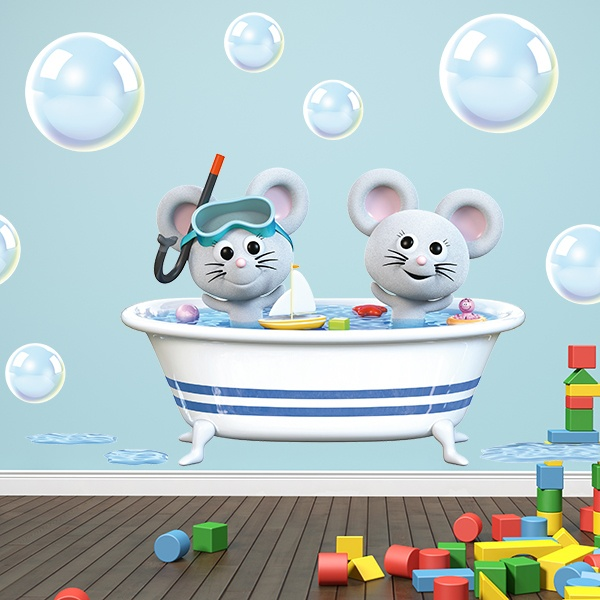 Stickers for Kids: Mice in the bathtub