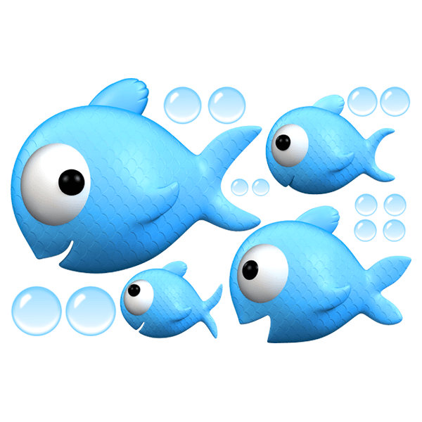 Stickers for Kids: Family of fish