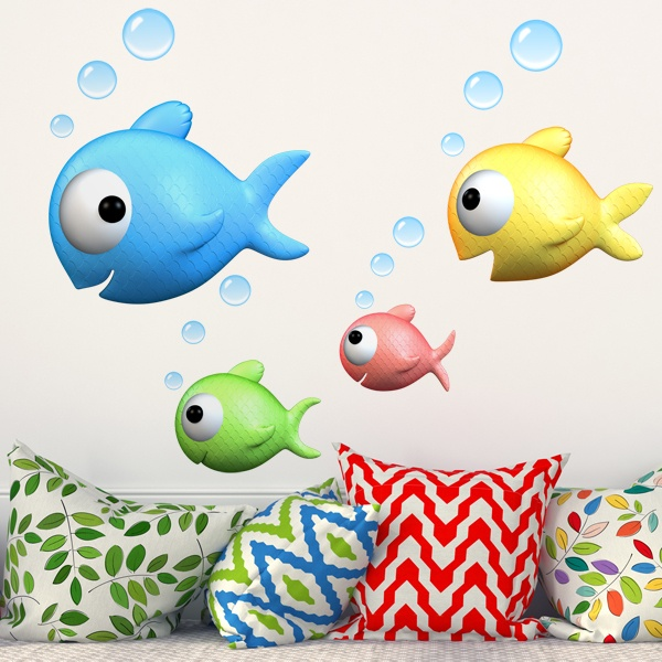 Stickers for Kids: Family goldfish