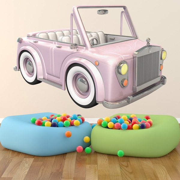 Stickers for Kids: Pink convertible