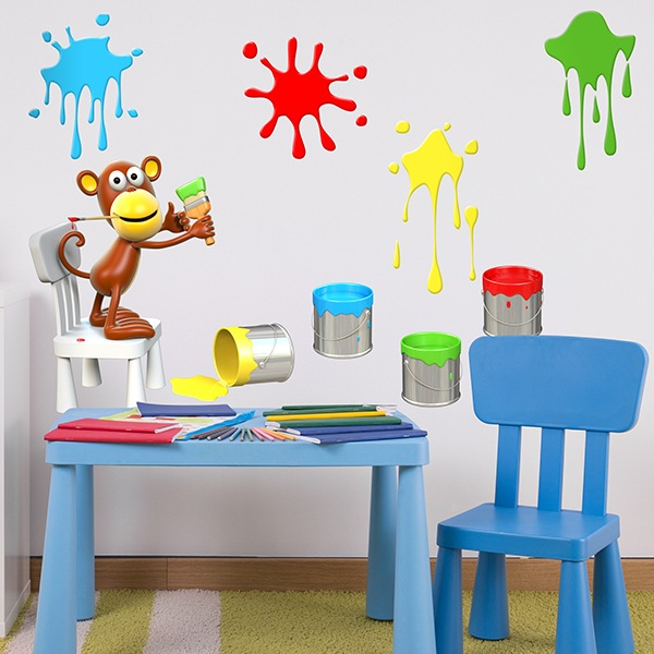 Stickers for Kids: Monkey painting spots