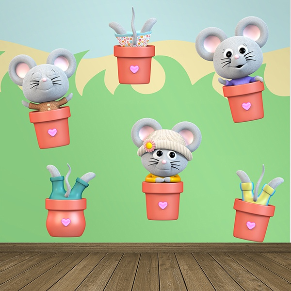 Stickers for Kids: Mice in pots